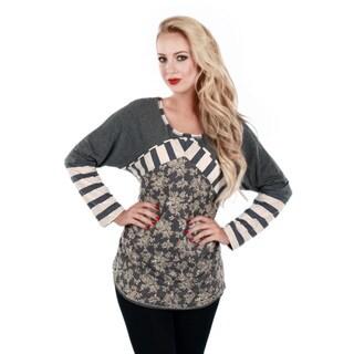Women's Grey Floral Stripe Long Sleeve Tunic