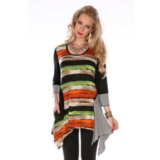 Women's Black 3/4-sleeve Horizontal Stripe Tunic