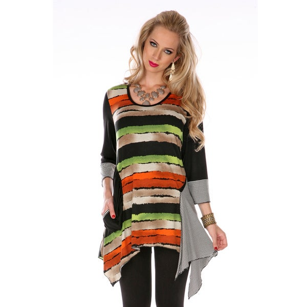 Firmiana Women's Black 3/4-sleeve Horizontal Stripe Tunic
