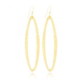 Belcho Oval Shape Textured Long Dangle Earrings