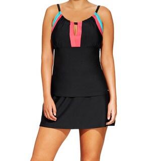 Women's Plus Size Black Colorblocked Peek-a-boo Neck Tankini