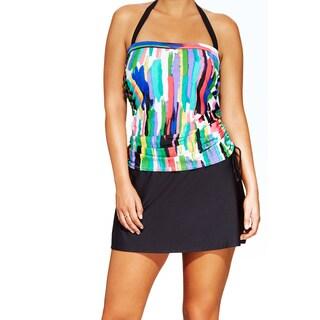 Women's Plus Size Watercolor Stripe Side-shirred Bandeauki