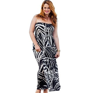 Women's Plus Size 'Baltic' Black and White Smocked Maxi Dress