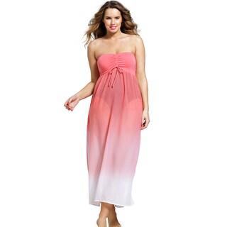 Women's Plus Size Coral Bandeau Chiffon Dress