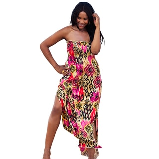 Women's Plus Size 'Cameroon' Smocked Maxi Dress