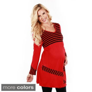 Women's Striped Long Sleeve Maternity Tunic
