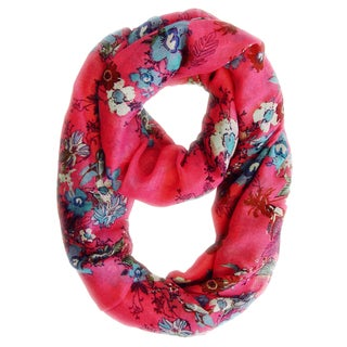 Pink Cherry Blossom Floral Print and Hummingbirds Infinity Loop Scarf