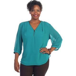 Hadari Women's Plus Size Turquoise Zip-front Blouse