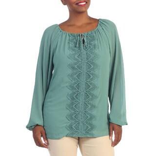 Hadari Women's Plus Size Mint Crochet-front Blouse