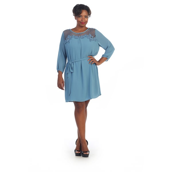 Hadari Women's Plus Size Crocheted Sheer-yoke Dress