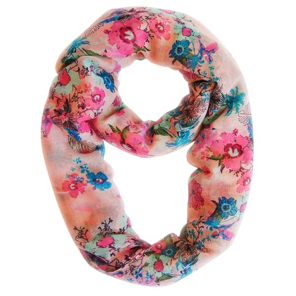 Peach Cherry Blossom Floral Print Loop Scarf