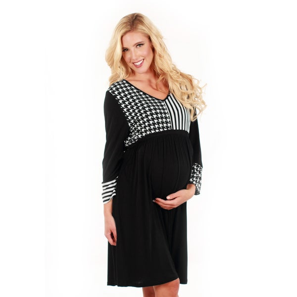 Women's Black and White Duo-print Long Sleeve Dress