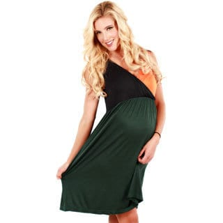 Women's Green/ Orange Colorblocked Maternity Dress