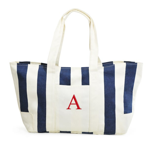 Monogrammed Navy Striped Canvas Tote