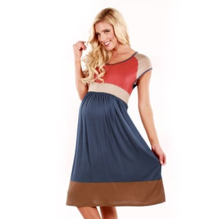 Women's Coral and Blue Colorblocked Short Sleeve Dress