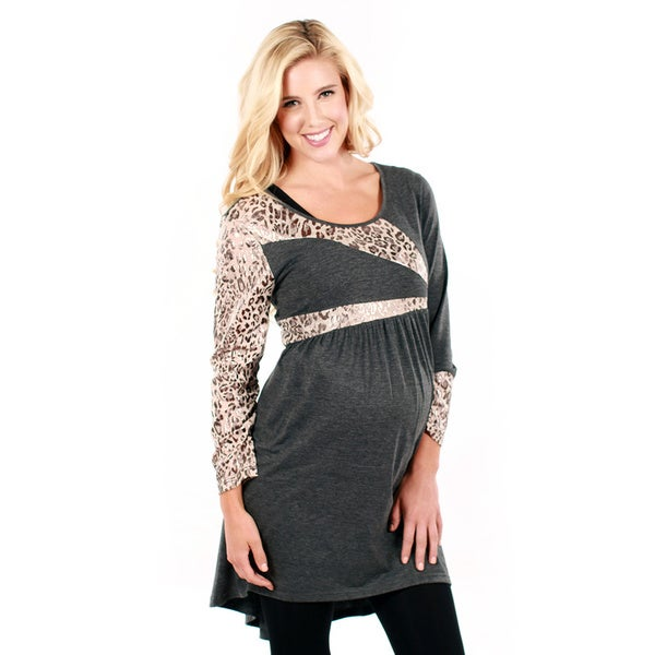 Women's Grey and Leopard Print Long-sleeve Tunic