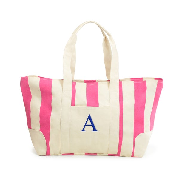 Monogrammed Pink Striped Canvas Tote
