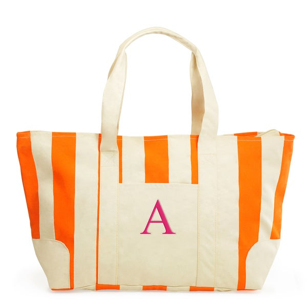 Monogrammed Orange Striped Canvas Tote