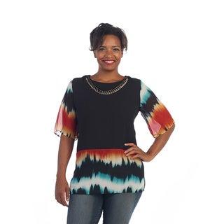 Hadari Women's Plus Size Multicolored Tie-dye Top