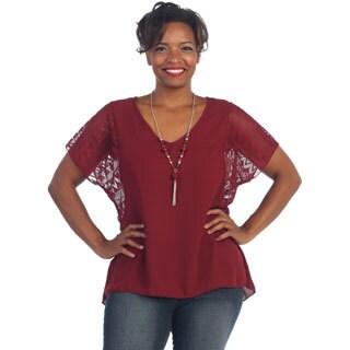 Hadari Women's Plus Size Burgundy Lace-sleeve Necklace Top