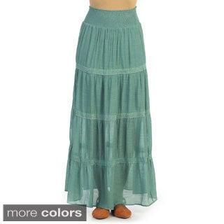 Hadari Women's Elastic-waist Maxi Skirt