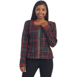 Hadari's Womens Plaid Pattern Jacket