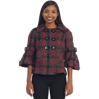 Hadari's Women's Bell Sleeved Button-up Plaid Jacket