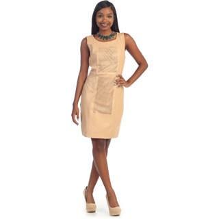 Hadari's Women's Faux Leather Sleeveless Dress
