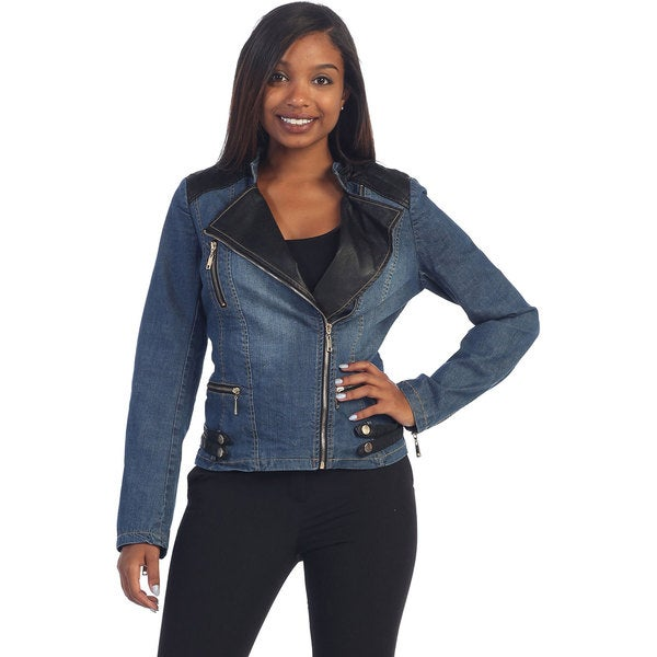 Hadari's Women's Denim/ Black Pleather Jean Jacket