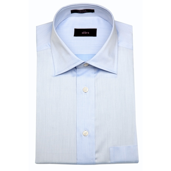 Alara Men's Light Blue Herringbone Egyptian Cotton Dress Shirt