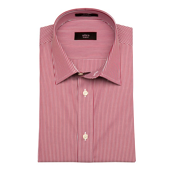 Alara Men's Slim Fit Red and White Pencil Striped Egyptian Cotton Shirt