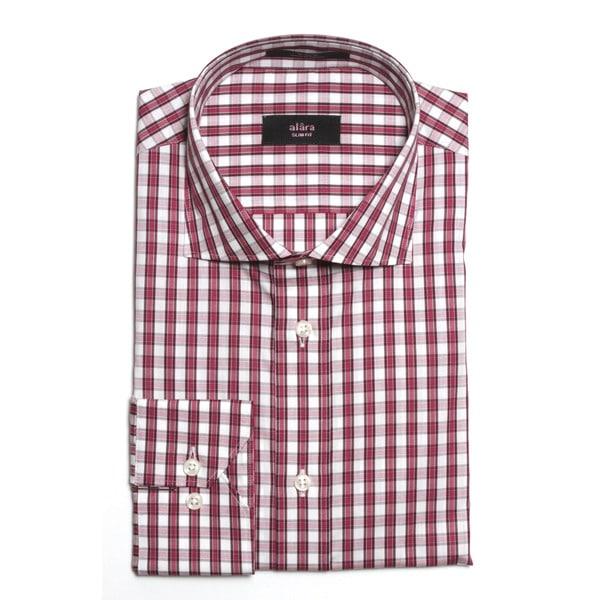 Alara Men's Slim Fit Maroon Striped Egyptian Cotton Dress Shirt