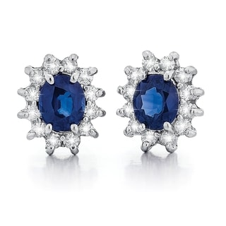 14k White Gold 1/2ct TDW Diamond and Sapphire Stud Earrings