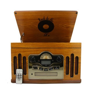 MGear 'Back to the 50's' Antique Wooden 3-speed Turntable with CD Player