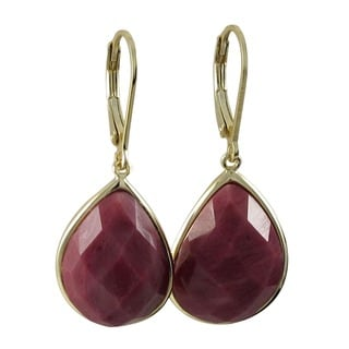 Gold over Sterling Silver Faceted Teardrop Gemstone Leverback Earrings
