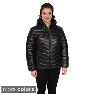 Excelled Women's Plus Size Packable Puffer Jacket with Attached Hood