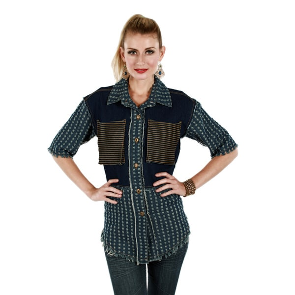 Firmiana Women's Blue Distressed Denim Button-up Shirt