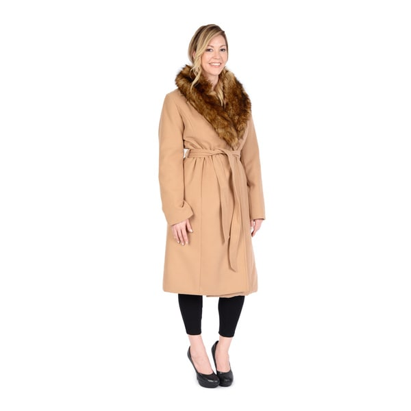 Excelled Women's Belted Full-length Midtie Swing Jacket