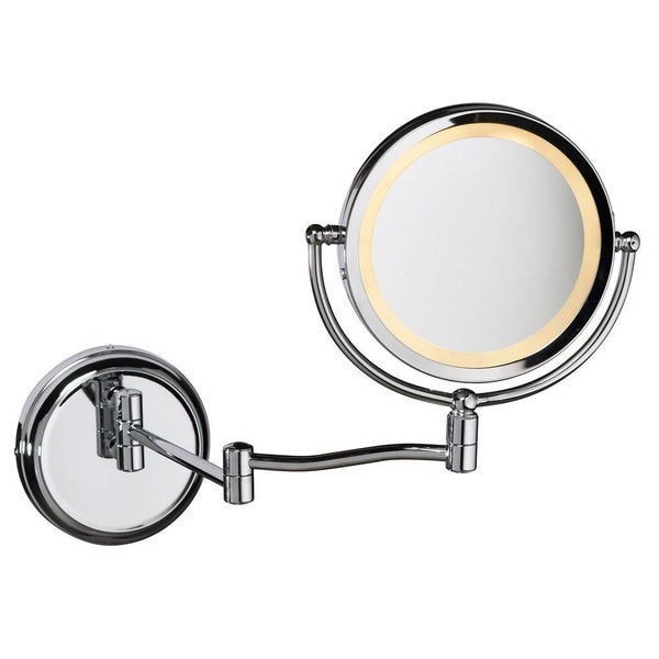 Dianolite Single-light Polished Chrome Swing Arm Lit Magnifier Mirror