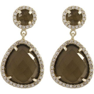 Sterling Silver Cubic Zirconia Faceted Circle and Teardrop Earrings