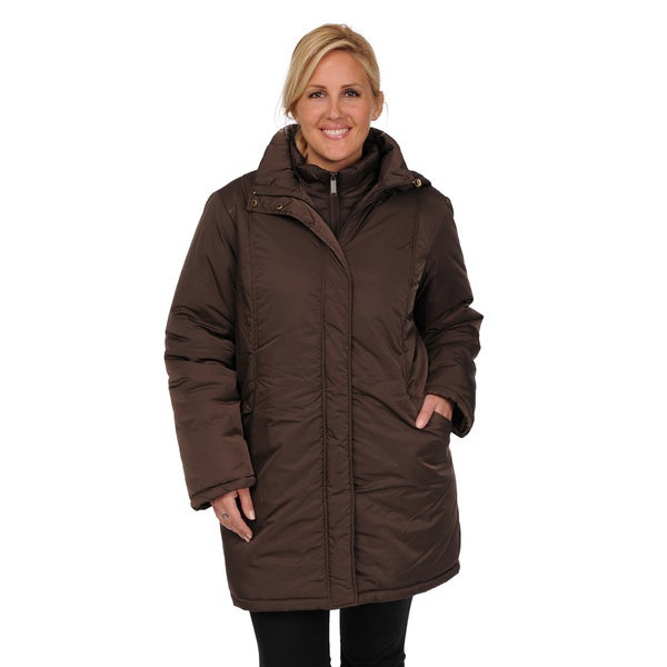 Excelled Women's Plus Size 3-in-1 Knee-length Jacket