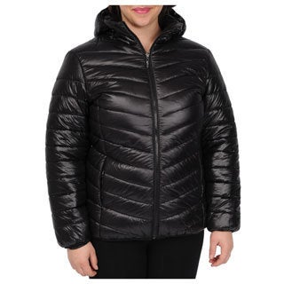 EXcelled Women's Packable Puffer Jacket with Attached Hood