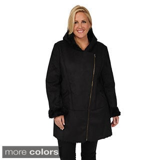 Excelled Women's Plus Size Faux Shearling Asymmetrical Coat