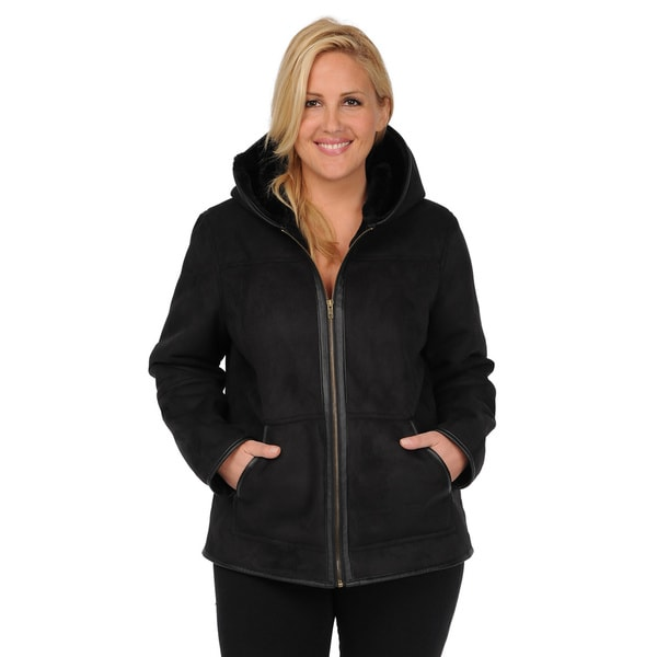 Excelled Women's Plus Size Faux Shearling Hooded Hipster Jacket