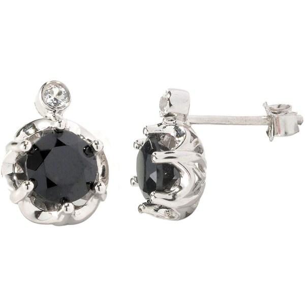 V3 Designs Sterling Silver Black Spinel and White Topaz Stud Earrings
