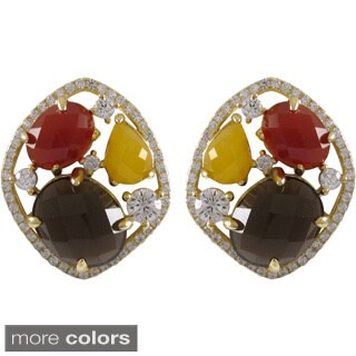 Gold over Sterling Silver Multi-color Gemstone Cluster Earrings