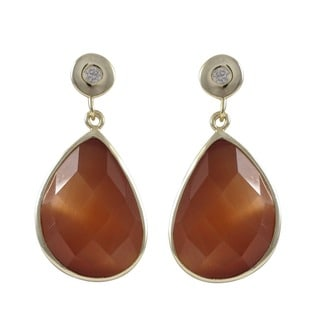 Gold over Sterling Silver Multi-gemstone Drop Earrings