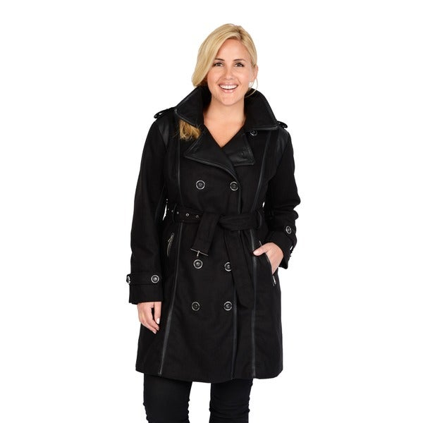 EXcelled Women's Plus Size Black Double Breasted Belted Trench Coat