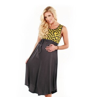 Women's Geometric Pattern and Solid Maxi Dress