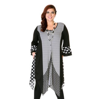 Firmiana Women's Plus Size Black and Grey Mixed Print Trapeze-hem Dress